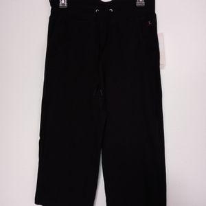 Black Drawstring Elastic Waist Crop Pants